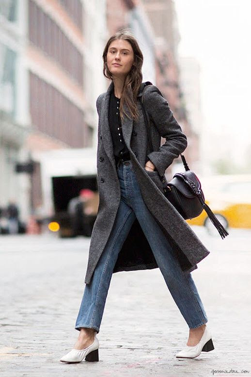 Le Fashion Blog Fall Style Grey Mid Length Wool Coat Black Collarless Blouse Vintage Style Jeans Tasseled Leather Bag White Glove Heels Via Garance Dore