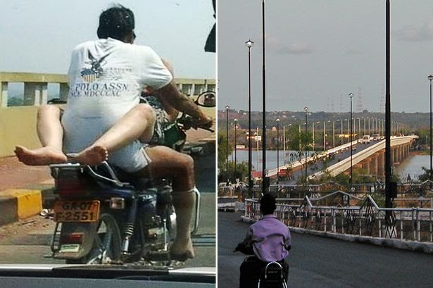 Indian police have tracked down a couple apparently having sex on a moving motorbike on the Mandovi Bridge in Goa after the image was posted by a local politician