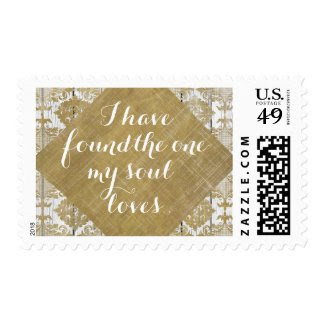 Vintage Gold Damask and Wood with Bible Verse Stamp