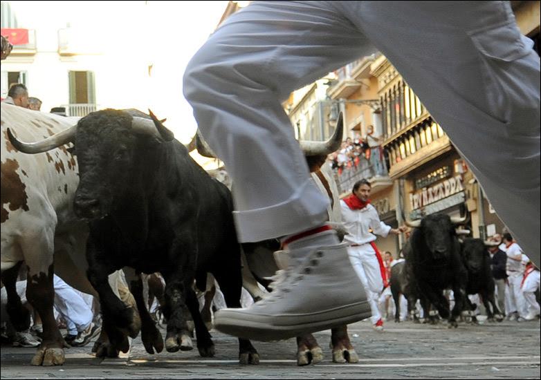 Bull and runners at Pamplona