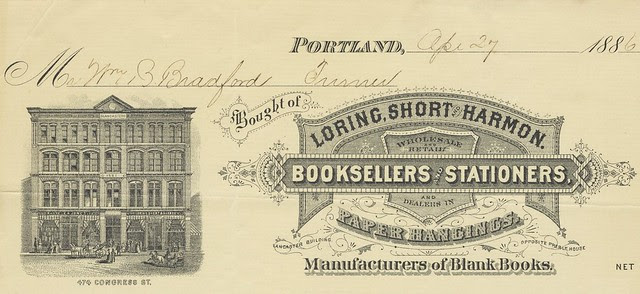 antique bookshop receipt : building picture alongside decorative 1880s business logo