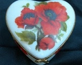 Vintage Porcelain Limoges Hinged Trinket Box Decorated With Poppies