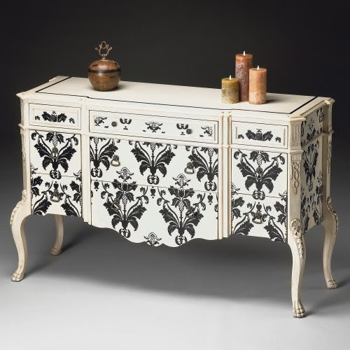 Butler Console Cabinet - Black-on-White Damask - traditional ...