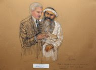In this photo of a sketch by courtroom artist Janet Hamlin and reviewed by the U.S. Department of Defense, Khalid Sheikh Mohammed, right, consults with his civilian attorney David Nevin during a break of his military hearing at the Guantanamo Bay U.S. Naval Base in Cuba, Saturday, May 5, 2012. The self-proclaimed mastermind of the Sept. 11 attacks repeatedly declined to respond to a judge's questions Saturday and his co-defendant was briefly restrained at a military hearing as five men charged with the worst terror attack in U.S. history appeared in public for the first time in more than three years. (AP Photo/Janet Hamlin, Pool)