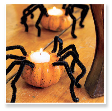 spider pumpkin candle holder Spider Pumpkin Tealight Candle Holder Using Pipe Cleaners