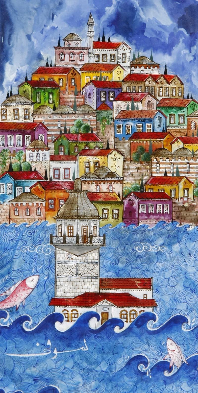 Renklendirilmiş Kız Kulesi Ve Istanbul Manzaralı Minyatür Ofis