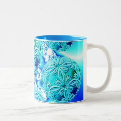 Blue Ice Crystals, Abstract Aqua Azure Cyan Spiral Coffee Mug