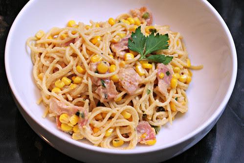 spaghetti carbonara with corn and jalapeno