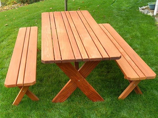 Picnic Table With Separate Benches