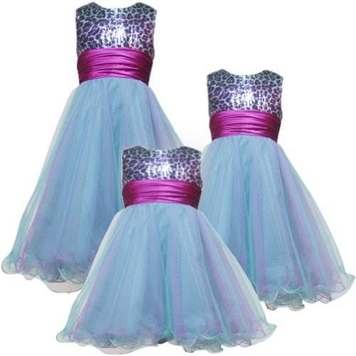 Cheap Specialoccasion Dresses Rare Editions TWEEN GIRLS 7 16 AQUA BLUE OMBRE SEQUINED LEOPARD