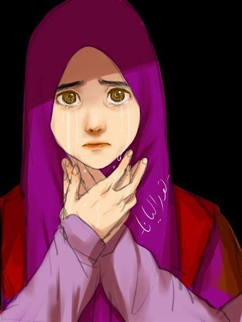 gambar kartun muslimah bercadar  menangis