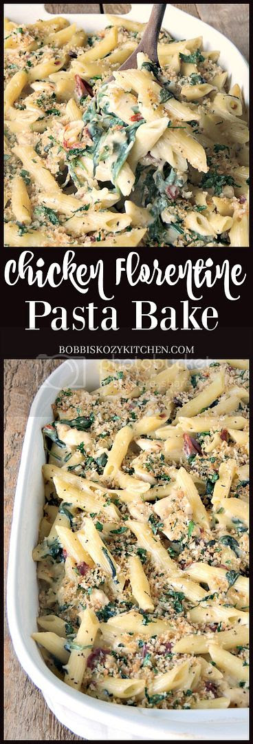 This hearty Chicken Florentine Pasta Bake takes your favorite comfort food to the next level and is done in 30 minutes from www.bobbiskozykitchen.com