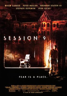 "Dark, brown-tinted and horror-themed image of a man in an asbestos-removal suit (to the right side of the poster), with an image of a chair (in the middle of the image) and an image of a large castle-like building at the top of the image. The text ""Session 9"" is emboldened in white text in the middle of the image, and near the bottom of the image is written, ""Fear is a place."""