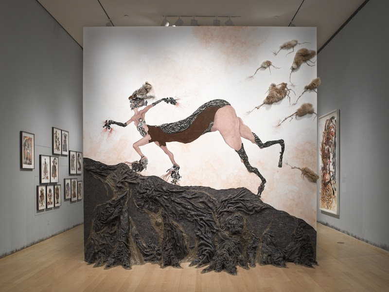 Wangechi Mutu, Once upon a time she said, I'm not afraid and her enemies began to fear her The End, 2013; site-specific installation; dimensions variable. Courtesy the Brooklyn Museum