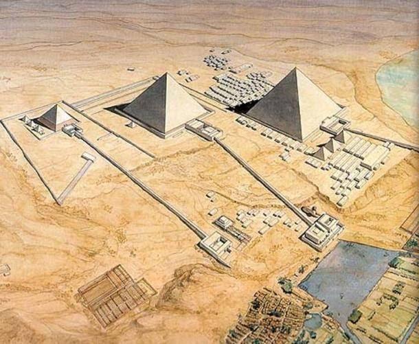 Reconstrucción artística de las pirámides de Guiza y las calzadas que conducen a cada una.