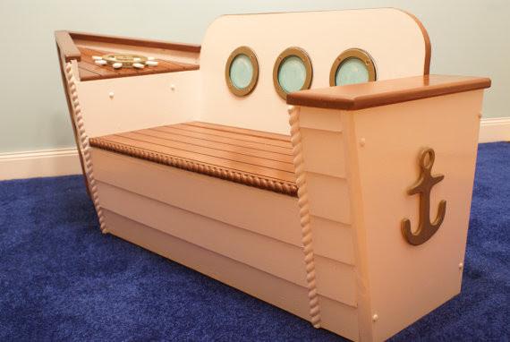 Nautical Toy Box/Bench by Adamz Originals - Beach Style - Kids Storage