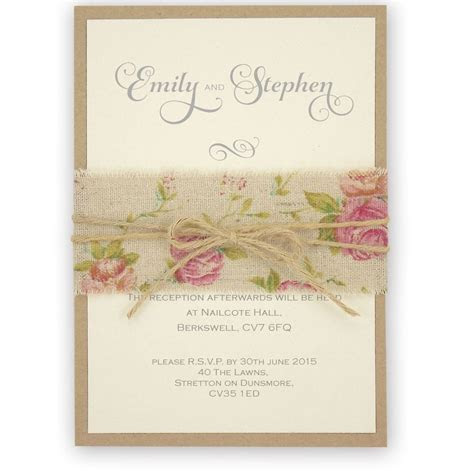 Shabby Chic Rose Wedding Invitation with Burlap and Twine