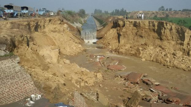 The damaged canal in Haryana