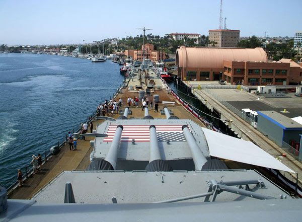 The USS Iowa's bow...as seen from atop her bridge on August 7, 2012.