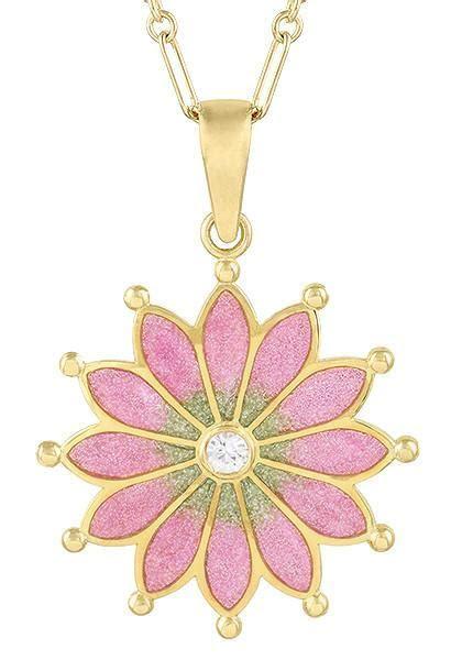 Plique a Jour Enamel Necklace in Yellow Gold Vermeil over