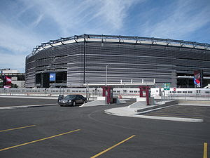 Exterior view of the new Meadowlands Stadium a...