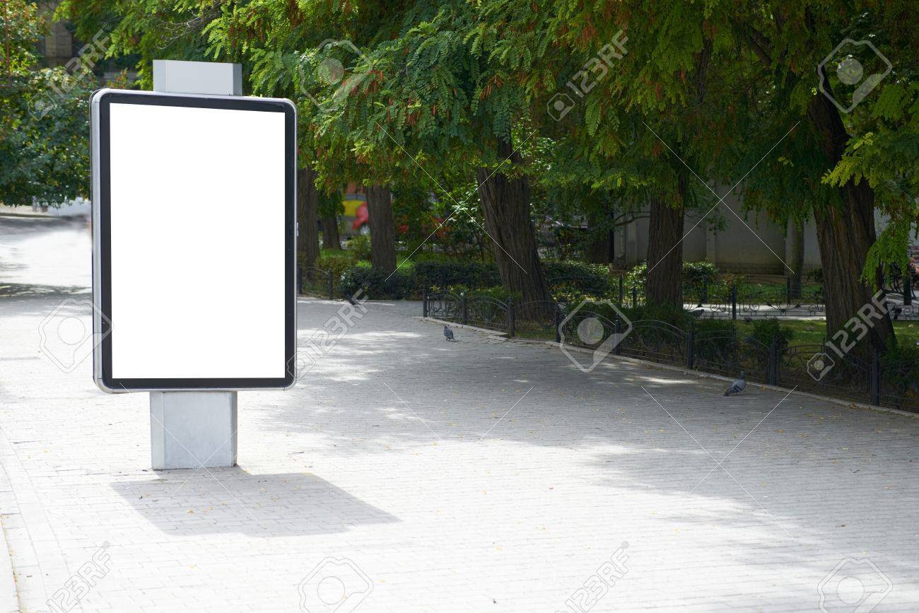 Vertical Blank Billboard On The City Street Stock Photo, Picture ...
