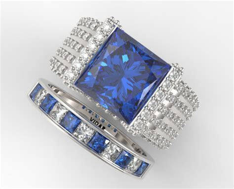 Princess Cut Blue Sapphire Wedding Ring Set In White Gold