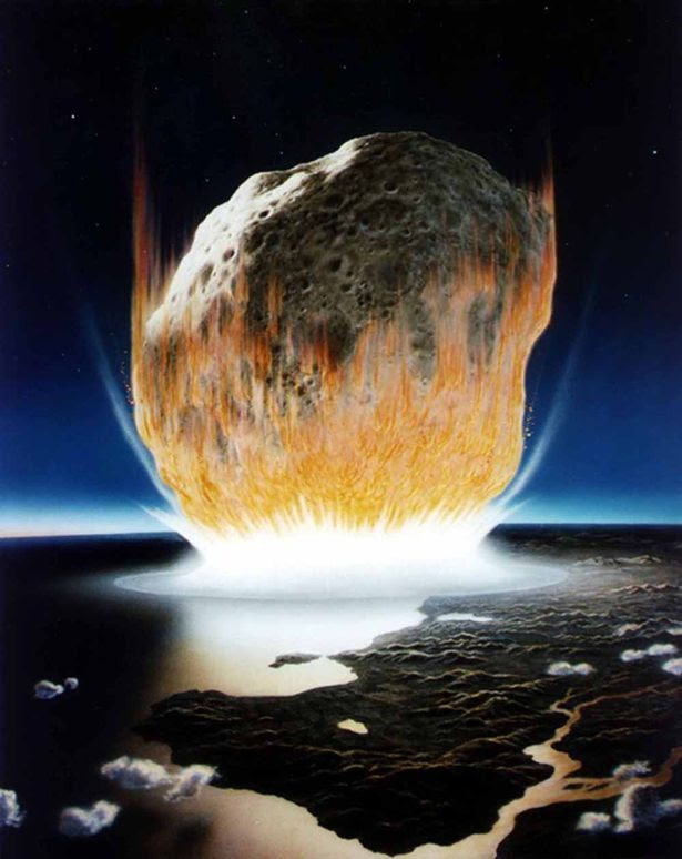 This artist's conception shows an asteroid crashing into Earth