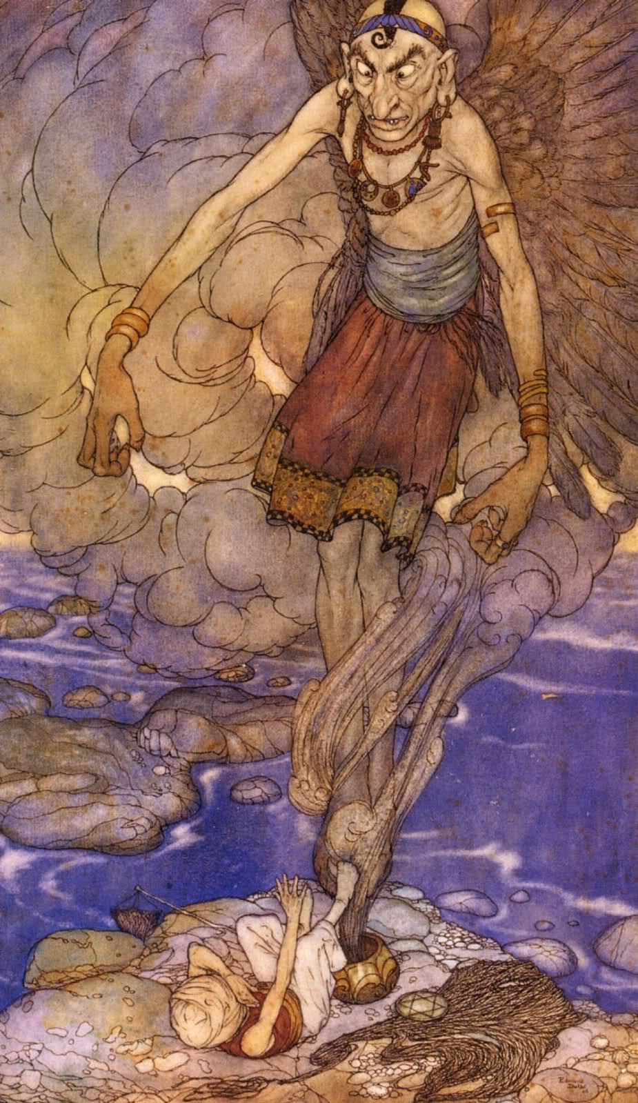 """Edmund Dulac - """"And there in its midst stood a  mighty Genie."""" Illustration from The Fisherman and the Genie' found in Stories from The Arabian Nights (1907)"""