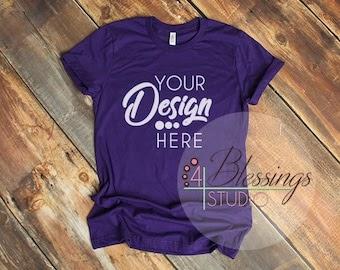Download Team Purple Bella Canvas Mockup Tshirt Team Purple 3001 ...