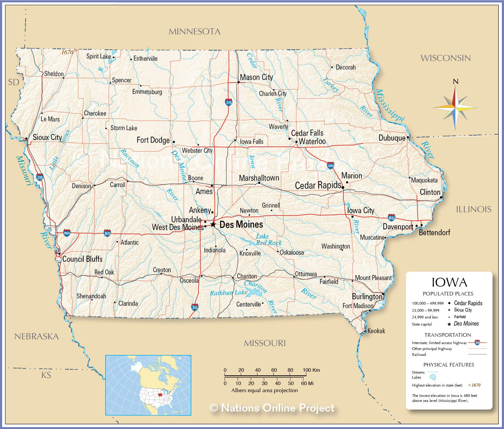 Maps United States Map Iowa - Iowa us map