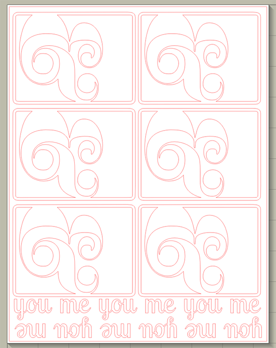Ampersand you and me 3x4 cards & script cut file mel stampz 550px