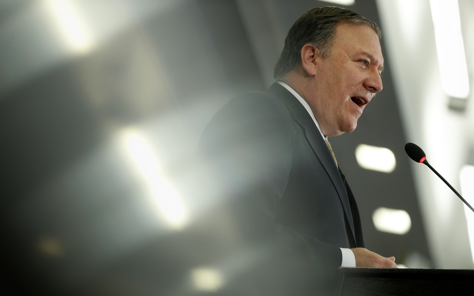 "CIA Director Mike Pompeo speaks at the Center for Strategic and International Studies (CSIS) in Washington, Thursday, April 13, 2017. Pompeo denounced WikiLeaks, calling the anti-secrecy group a ""hostile intelligence agency."" (AP/Pablo Martinez Monsivais)"