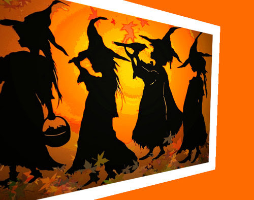 halloween, paper cutting, witches