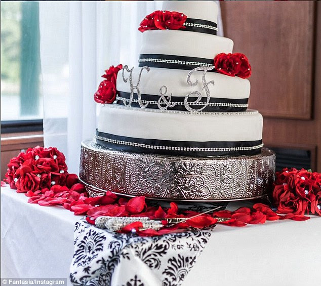 'Not Only does @laimage1 do my make up but she makes Amazing Cakes.. Thank you Sissy I'm still on cloud 9' Fantasia wrote alongside this image of her wedding cake