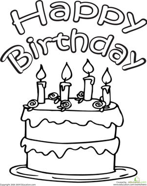 Color the Happy Birthday Cake | Worksheet | Education.com