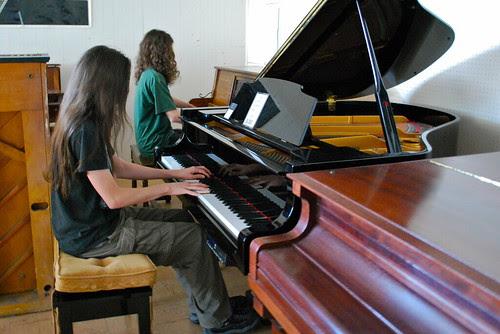 At the piano studio