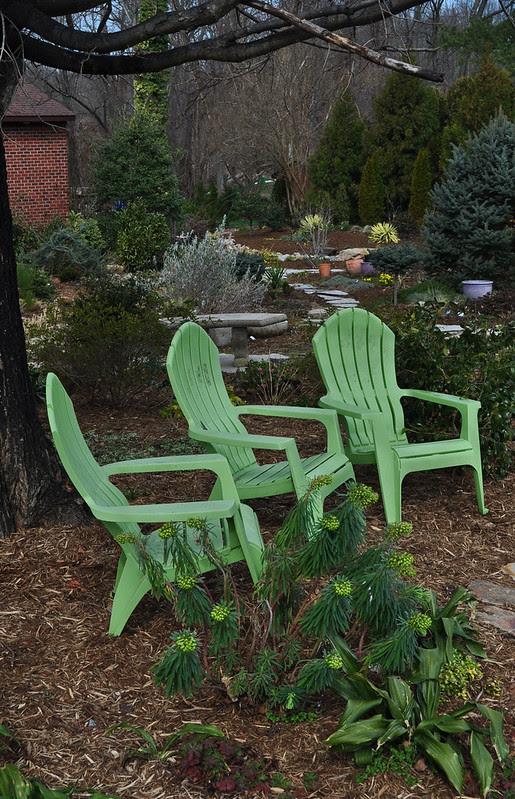 Three Green Chairs