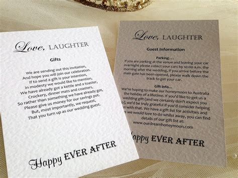 Guest Information Cards and Wedding Gift Wish Cardss, Gift