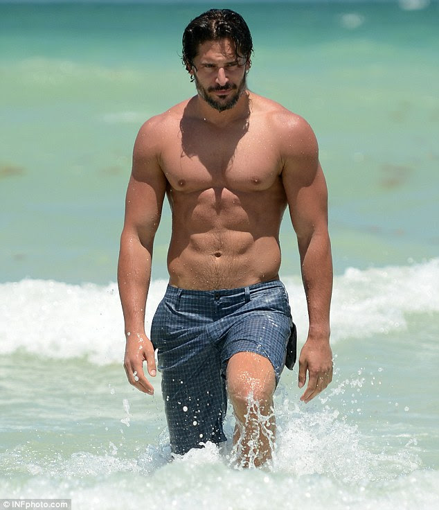 Cooling down: True Blood star Joe Manganiello shows off his toned torso while on Miami's South Beach yesterday