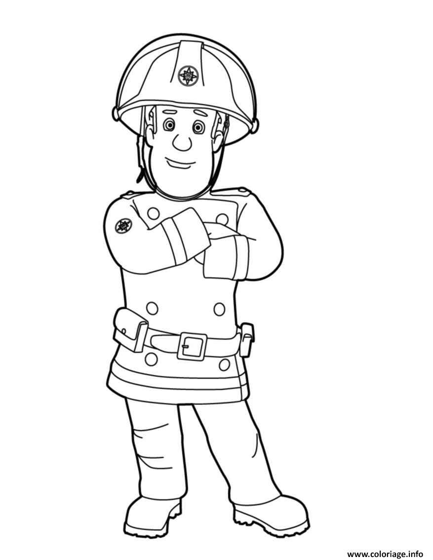Coloriage Sam Le Pompier Apres Un Sinistre Jecoloriecom