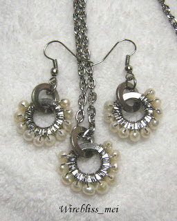 Wire wrapped pearl and washer earring