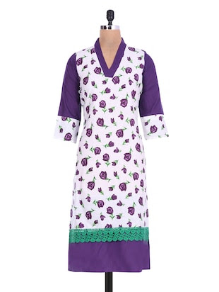 White and purple floral cotton kurta