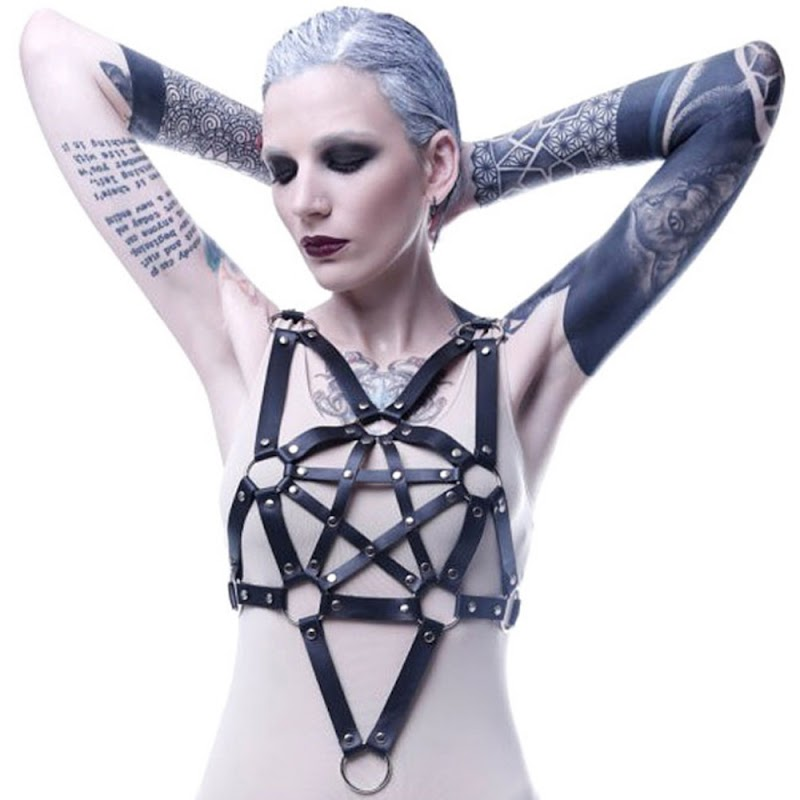 Buy  Goth PU Leather Bra Garter Belts Sexy Pentagram Style Chest Bra Cage Body Harness Strap Women Linge