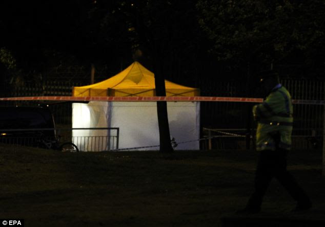 Forensics: Investigative works continue into the evening as police probe the scene in Woolwich