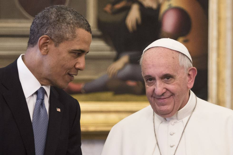Barack Obama visits Pope Francis in Rome on March 27, 2014.
