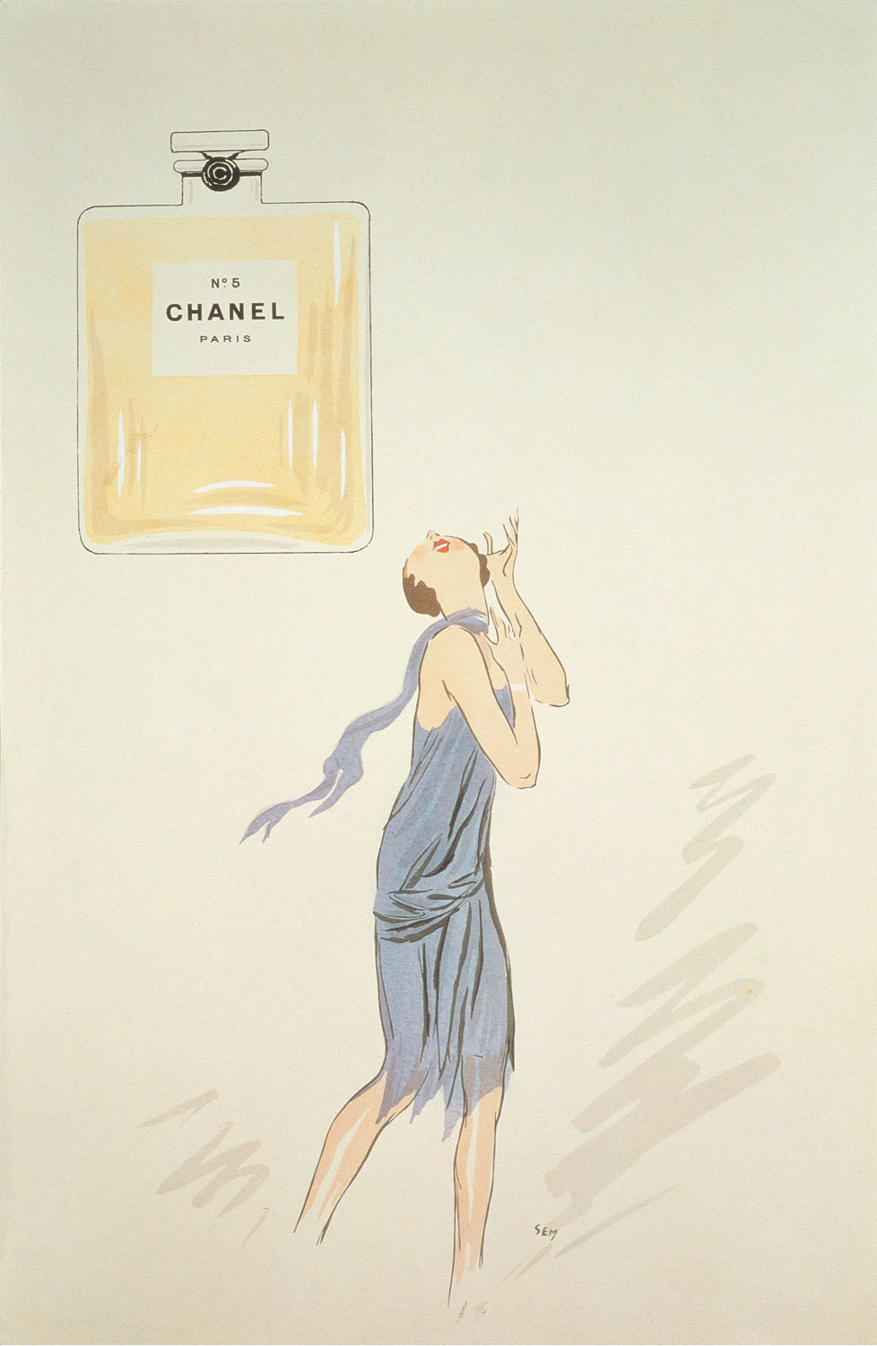 A 1921 illustration of Chanel No. 5 by the cartoonist Sem.