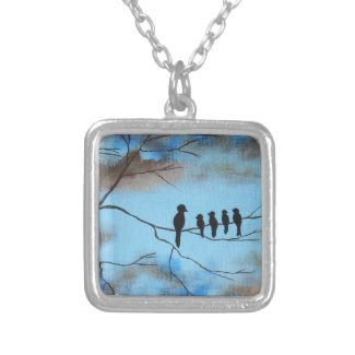 Birds In Tree In Sky Mother's Day Abstract Art Pendant
