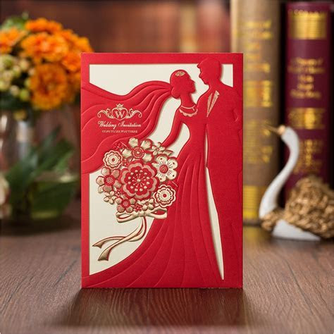 New Design Wedding Invitations Cards 2018 Elegant Red