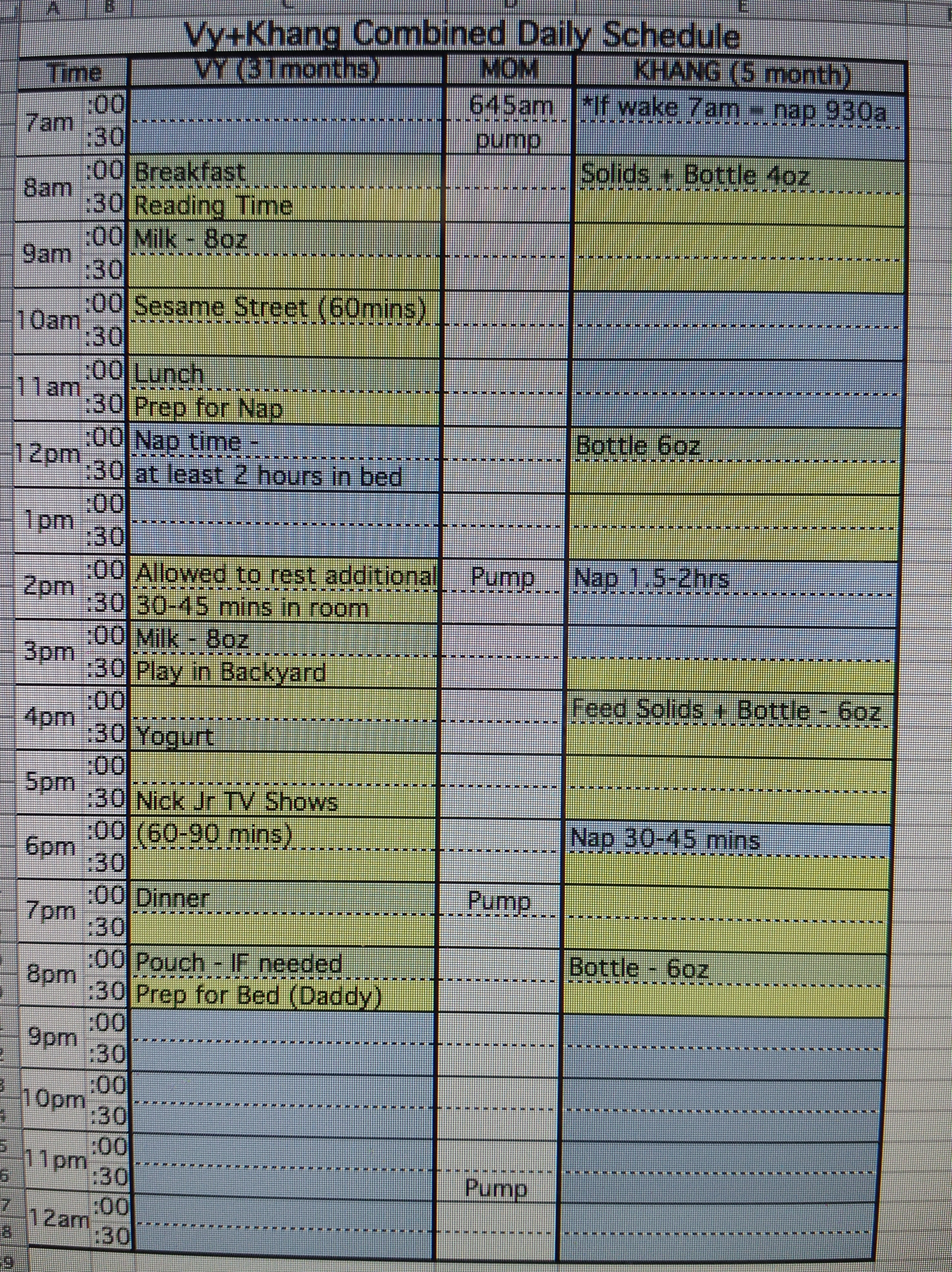 Daily Schedule 4 Month Old